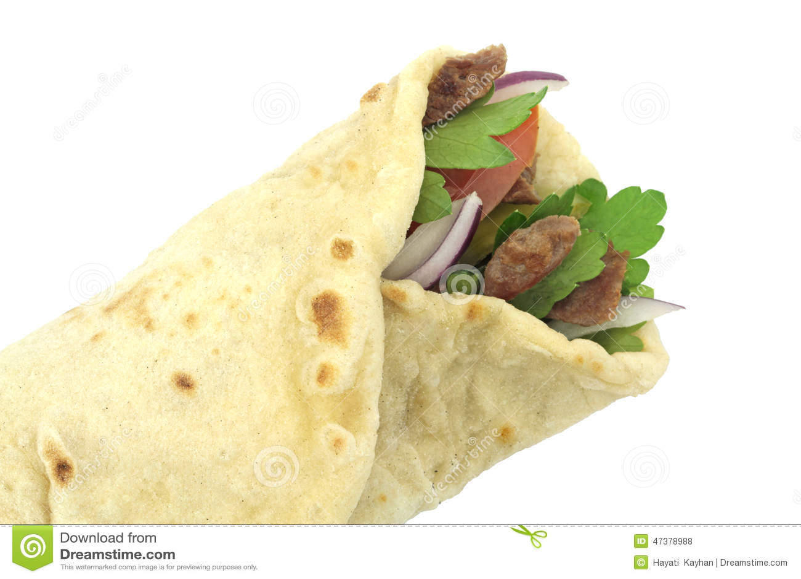 Pane tradizionale del rotolo dell involucro del turco Kebab del doner del grano duro