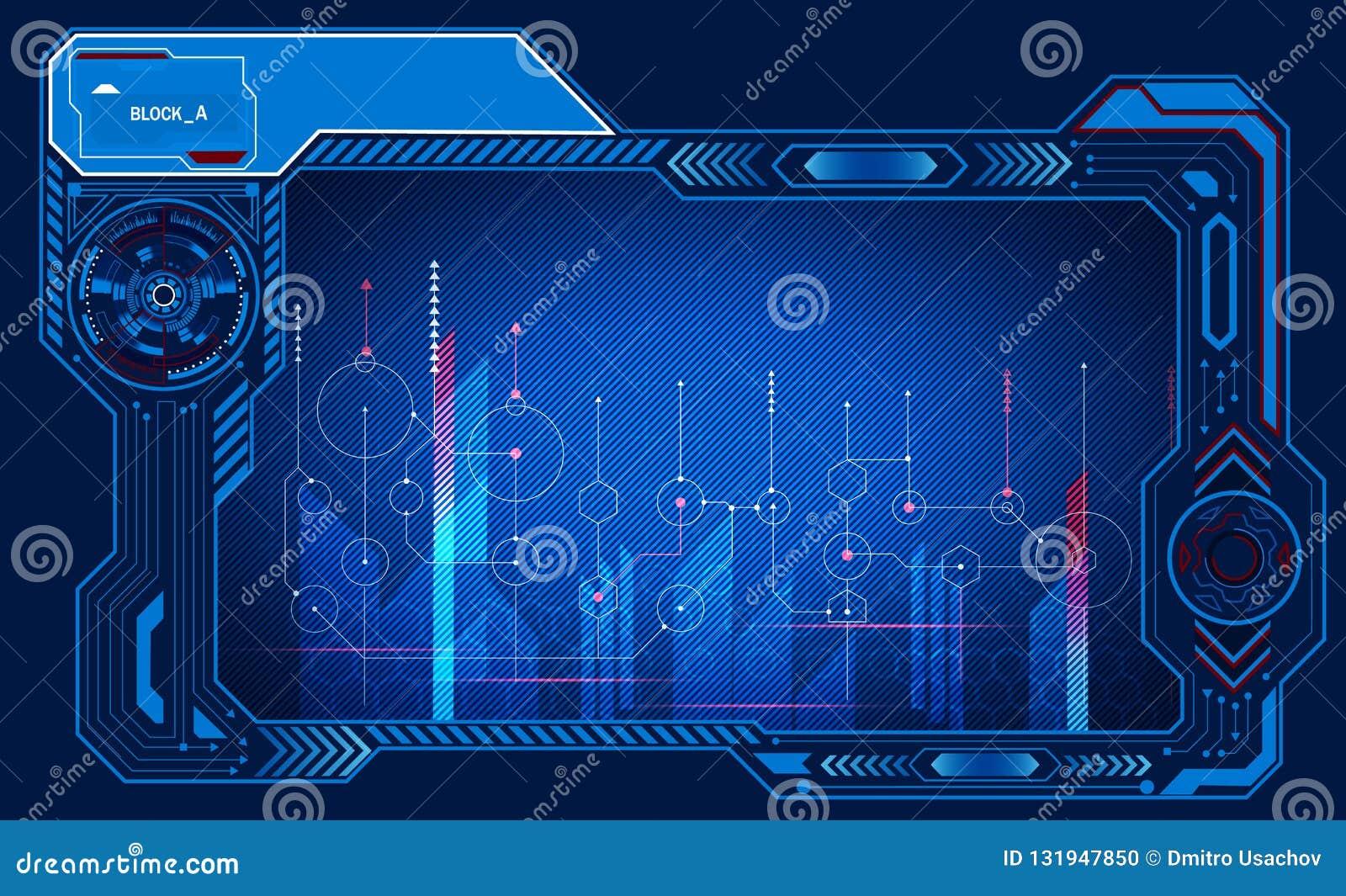 Paneel van de computer het niet-symmetrische grafische presentatie, monitor, kader, controlevertoning, machtstechnologie Illustra