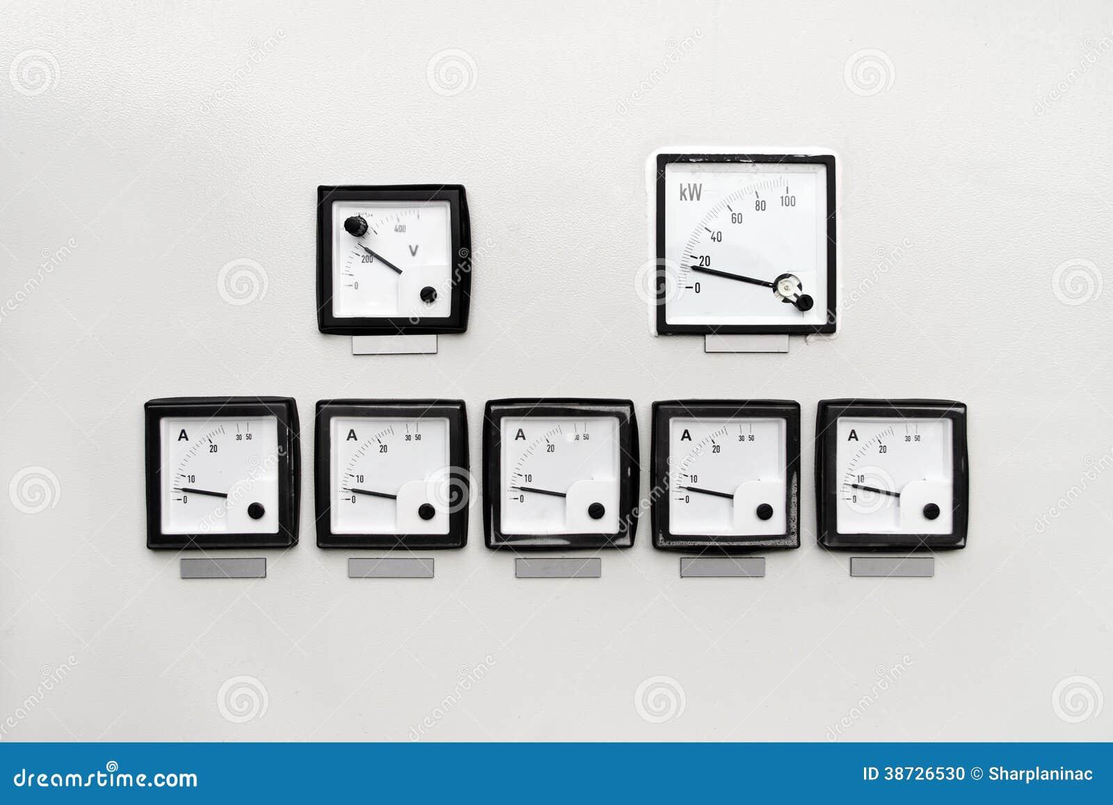 panel with ampere volt and kilowatt hour meter stock. Black Bedroom Furniture Sets. Home Design Ideas