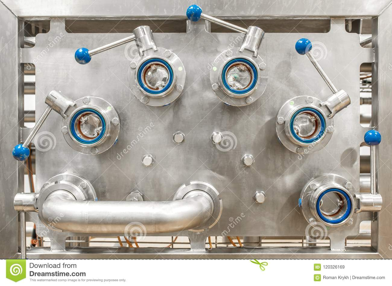 Panel for connecting pipes, part of the device food industry. St
