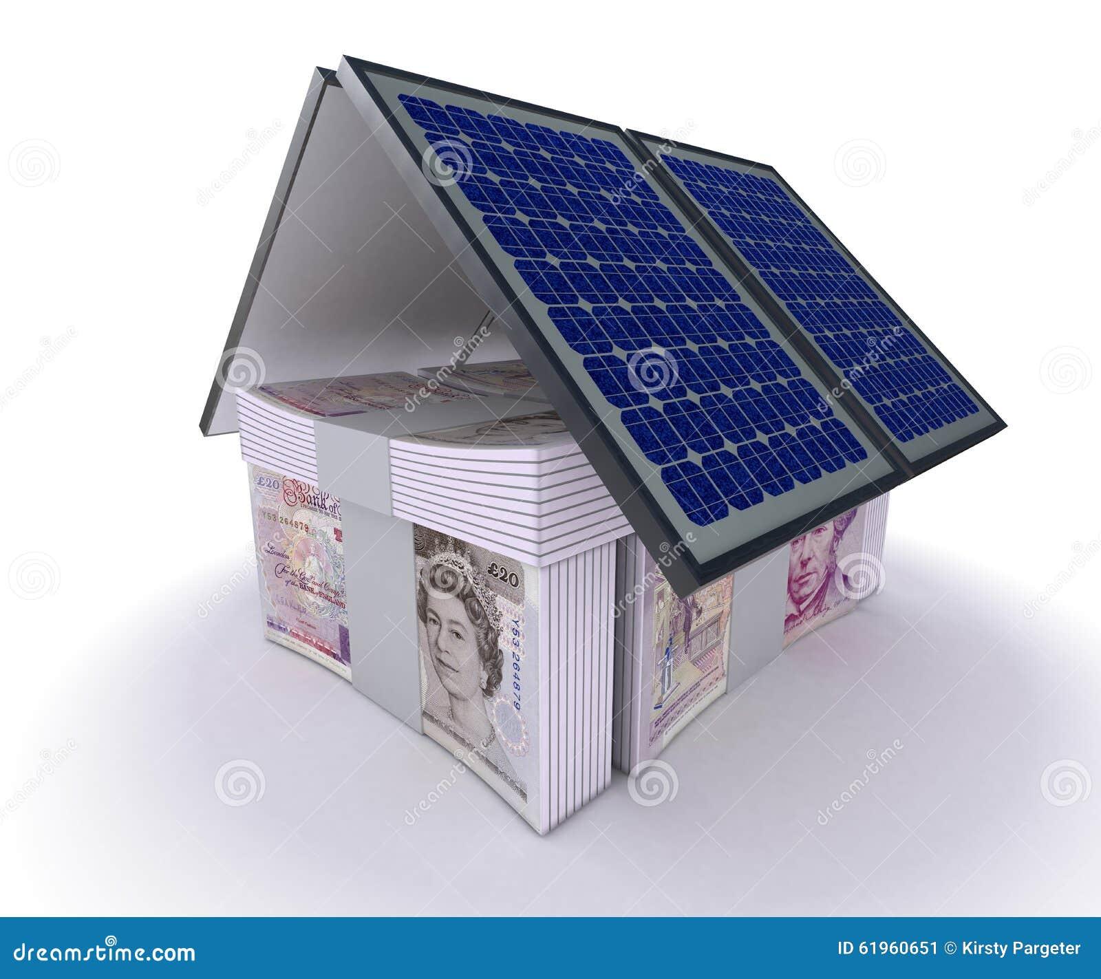 Panel słoneczny i pieniądze dom