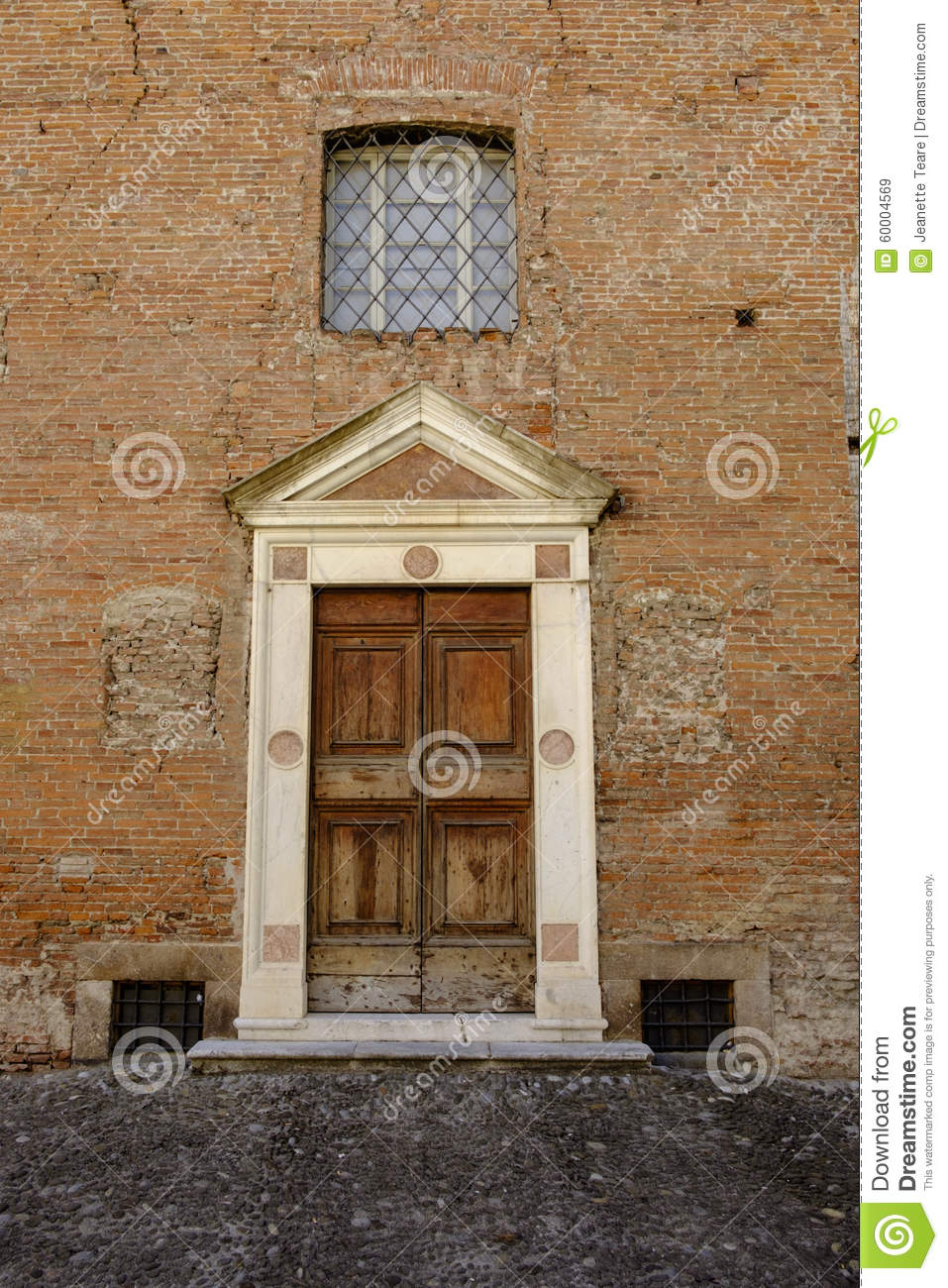 Panelled Old Wood Door In Solid Stone Surround Stock Photo Image 60004569