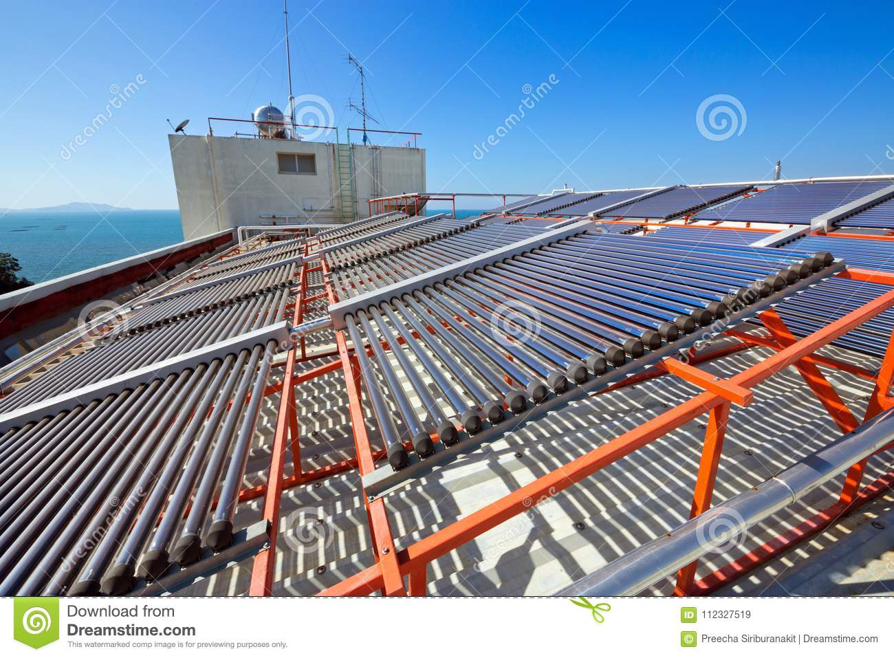 Panels And Pipes Of The Solar Water Heater Stock Image Diagram Free Collection Pictures