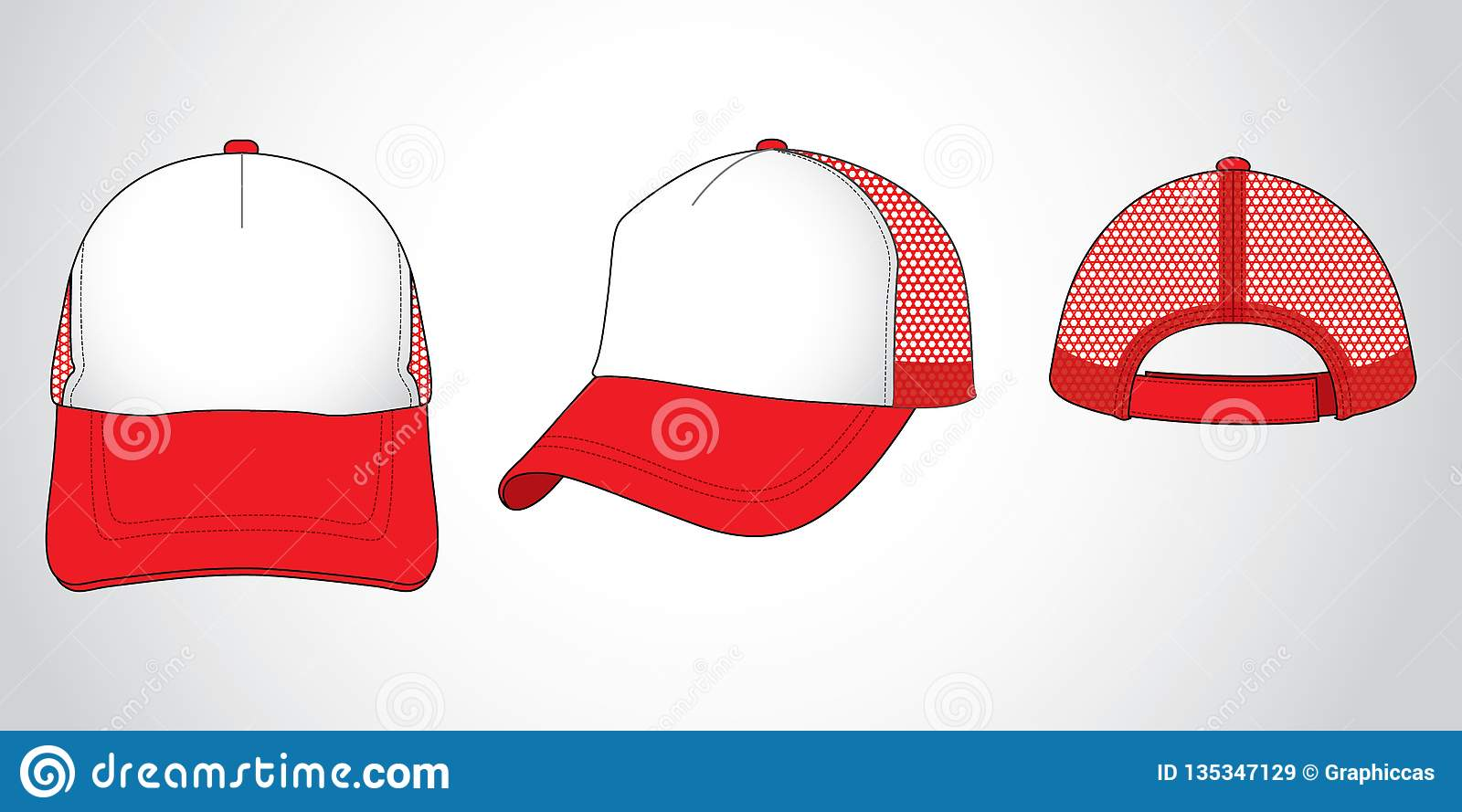 be504536 Front, back and side view - 5 panel cap - Mesh Material - Vector file -  Garment - Set - Unisex - Sports - Two tone. More similar stock illustrations