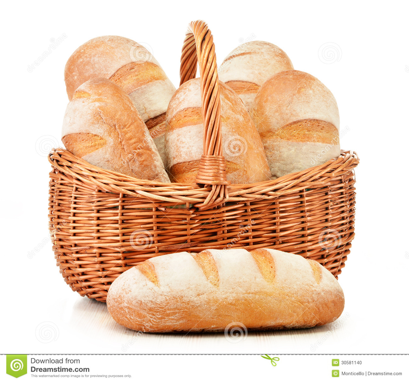 Panes del pan en cesta de mimbre en blanco foto de archivo imagen de grano blanco 30581140 - Cestos de mimbre blanco ...