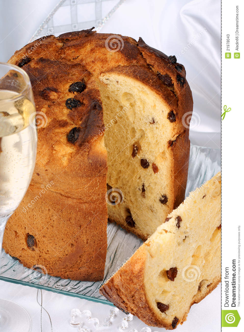 Panettone, italian Christmas cake and Spumante