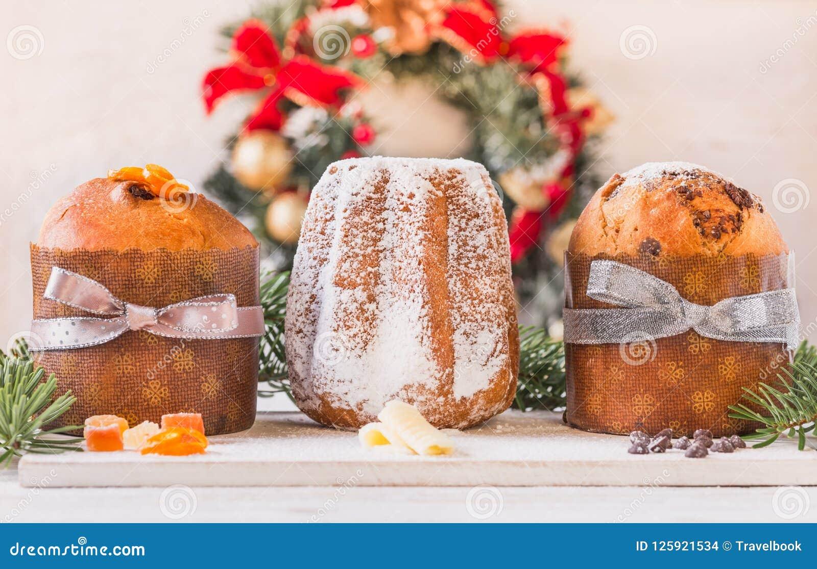 Italian Christmas Cake.Panettone And Pandoro Traditional Italian Christmas Cake
