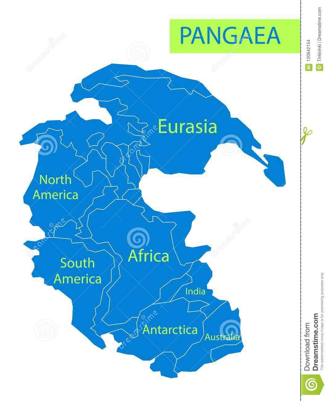 Pangea Supercontinent Map Pangaea Or Pangea. Vector Illustration Of Supercontinent That