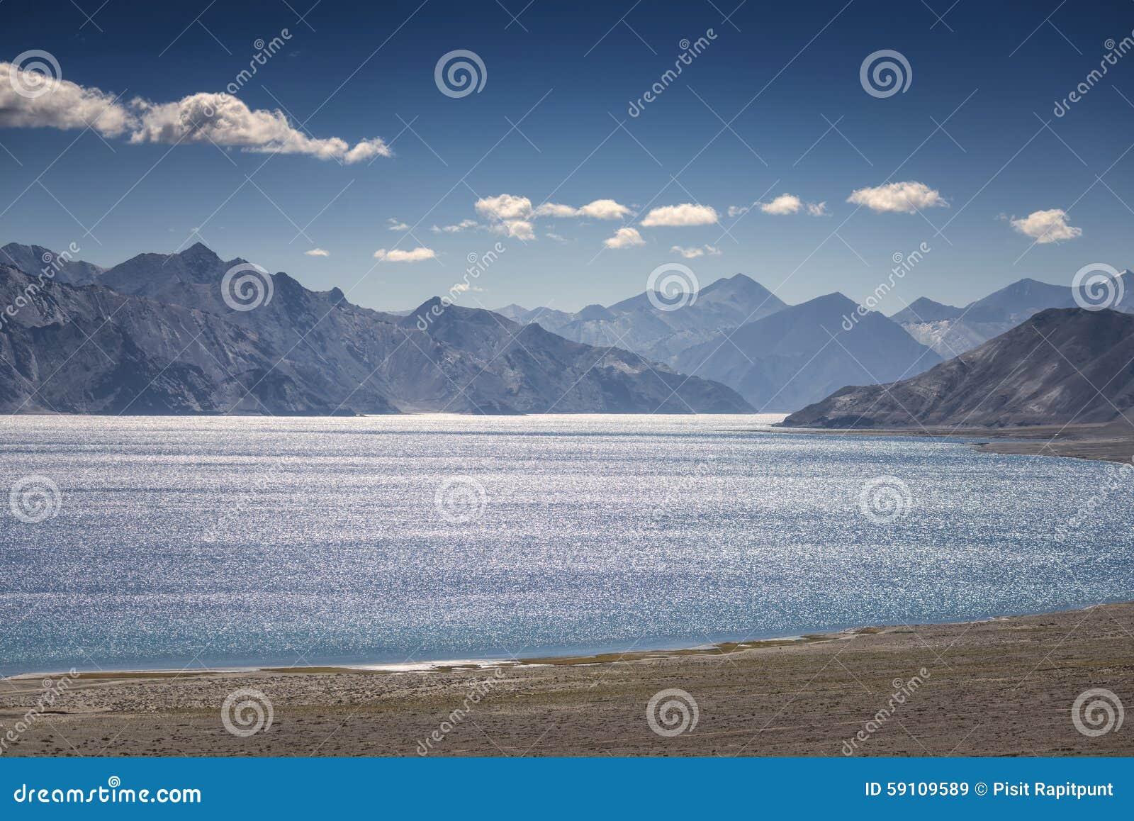 Pangong湖Leh拉达克,印度
