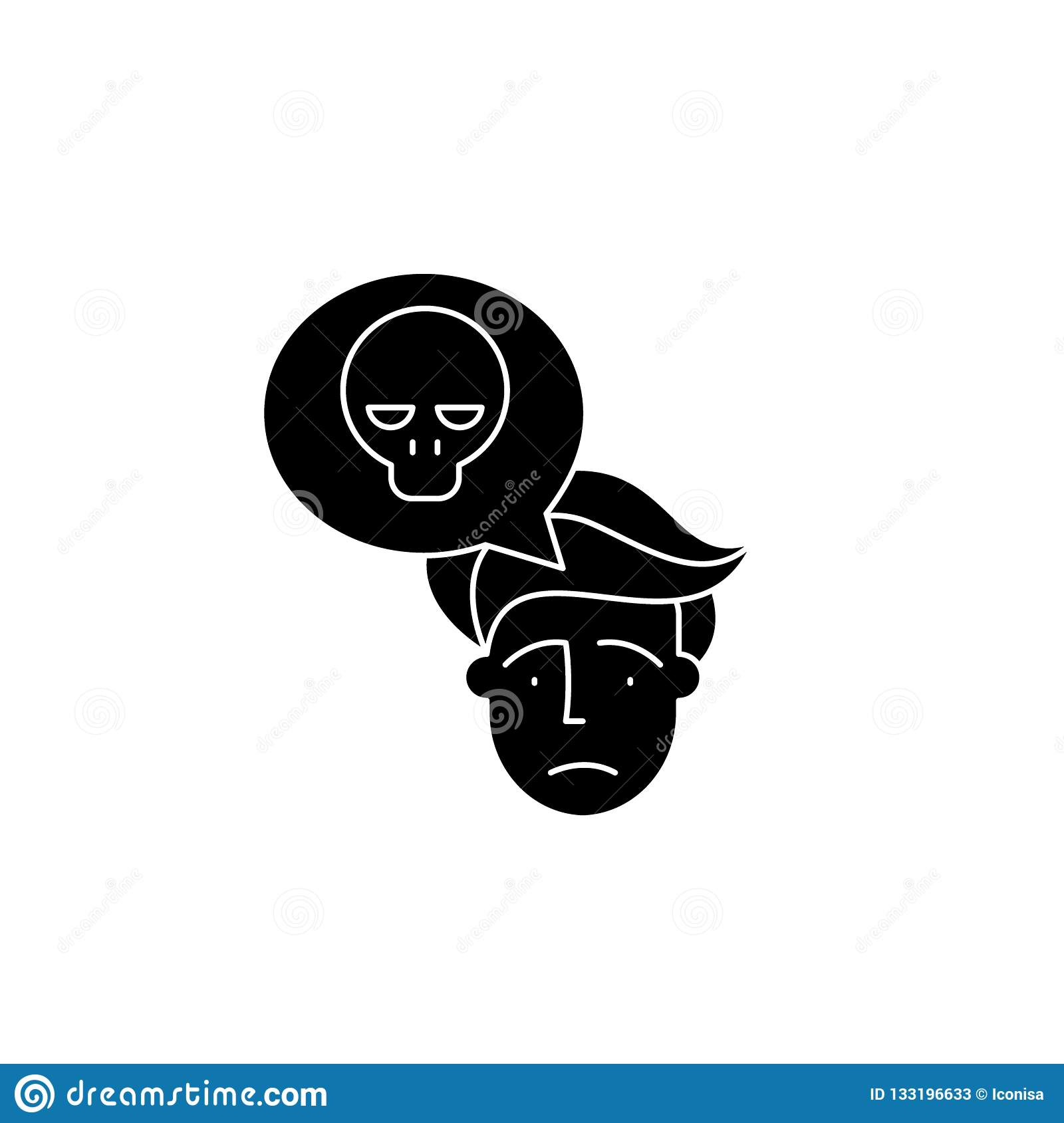 Panic Black Icon Vector Sign On Isolated Background Panic Concept