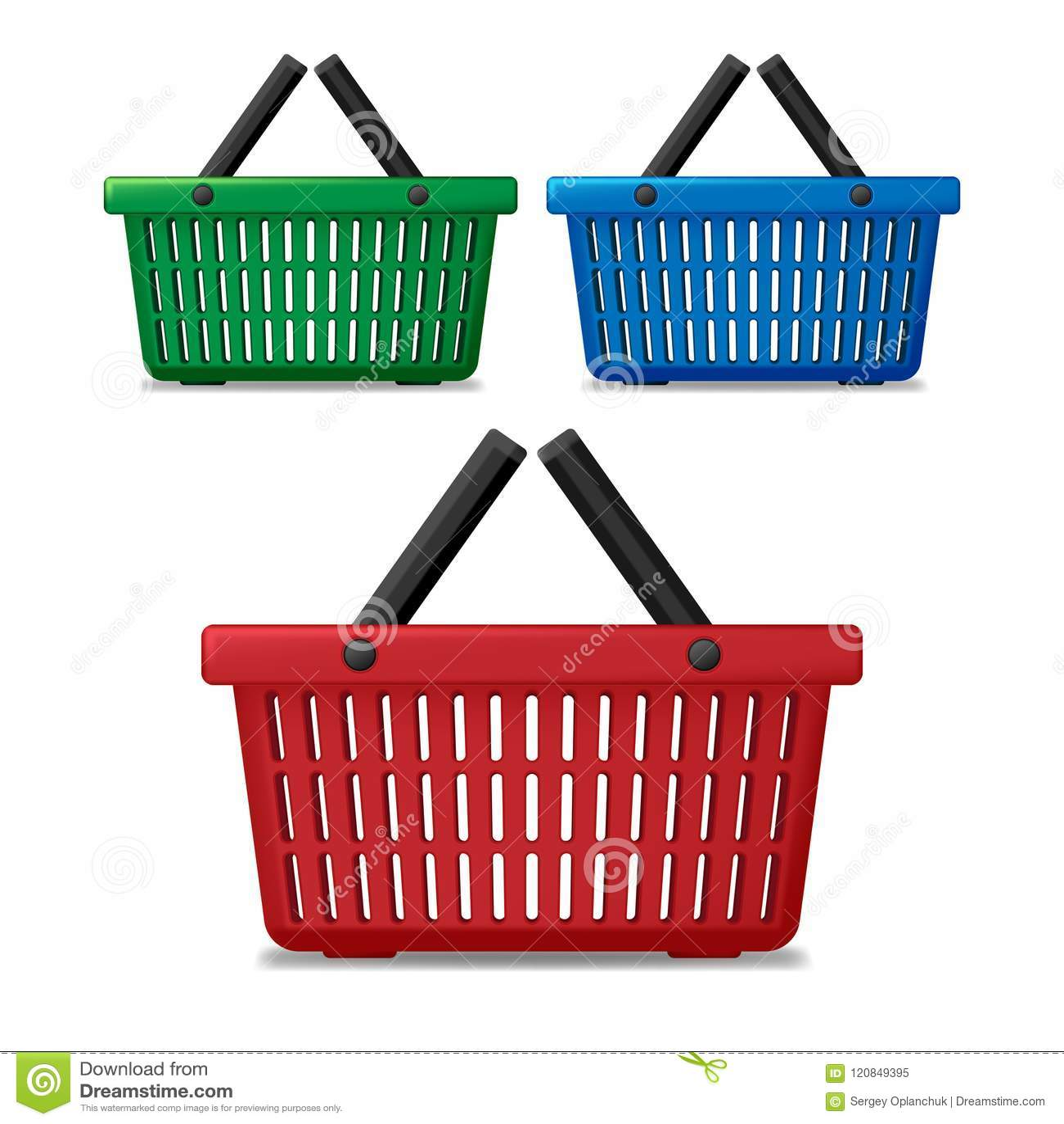 Panier à provisions vide rouge, bleu et vert réaliste de supermarché d isolement Chariot du marché de panier à vendre avec des po