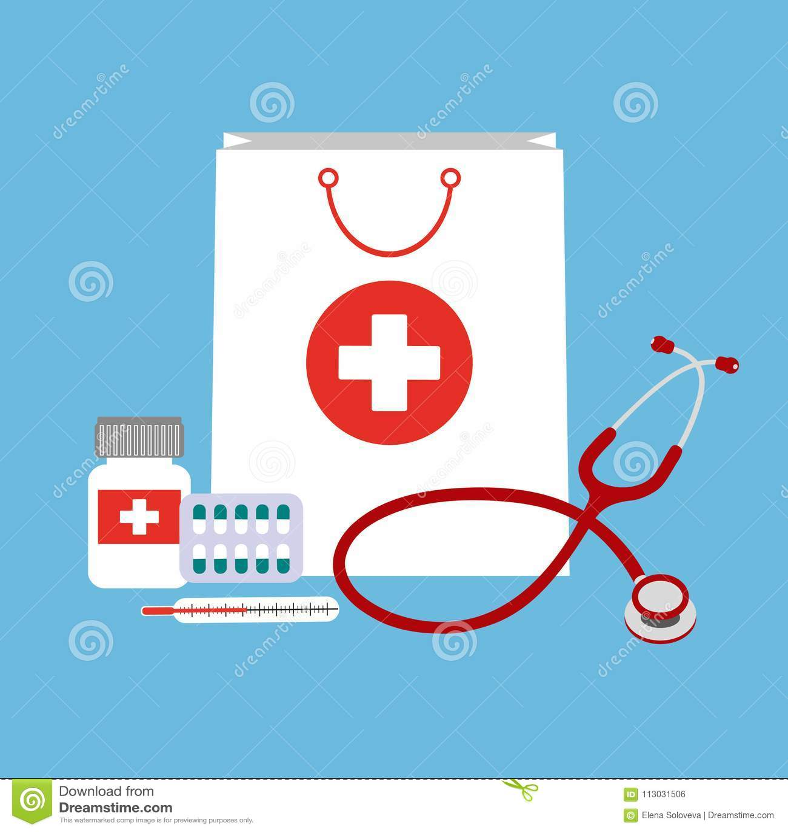 Panier blanco con las diversos píldoras y botellas y estetoscopio médicos