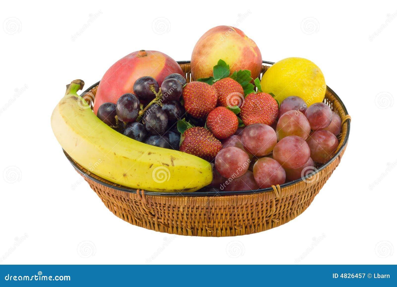 Panier de fraise de banane de raisins