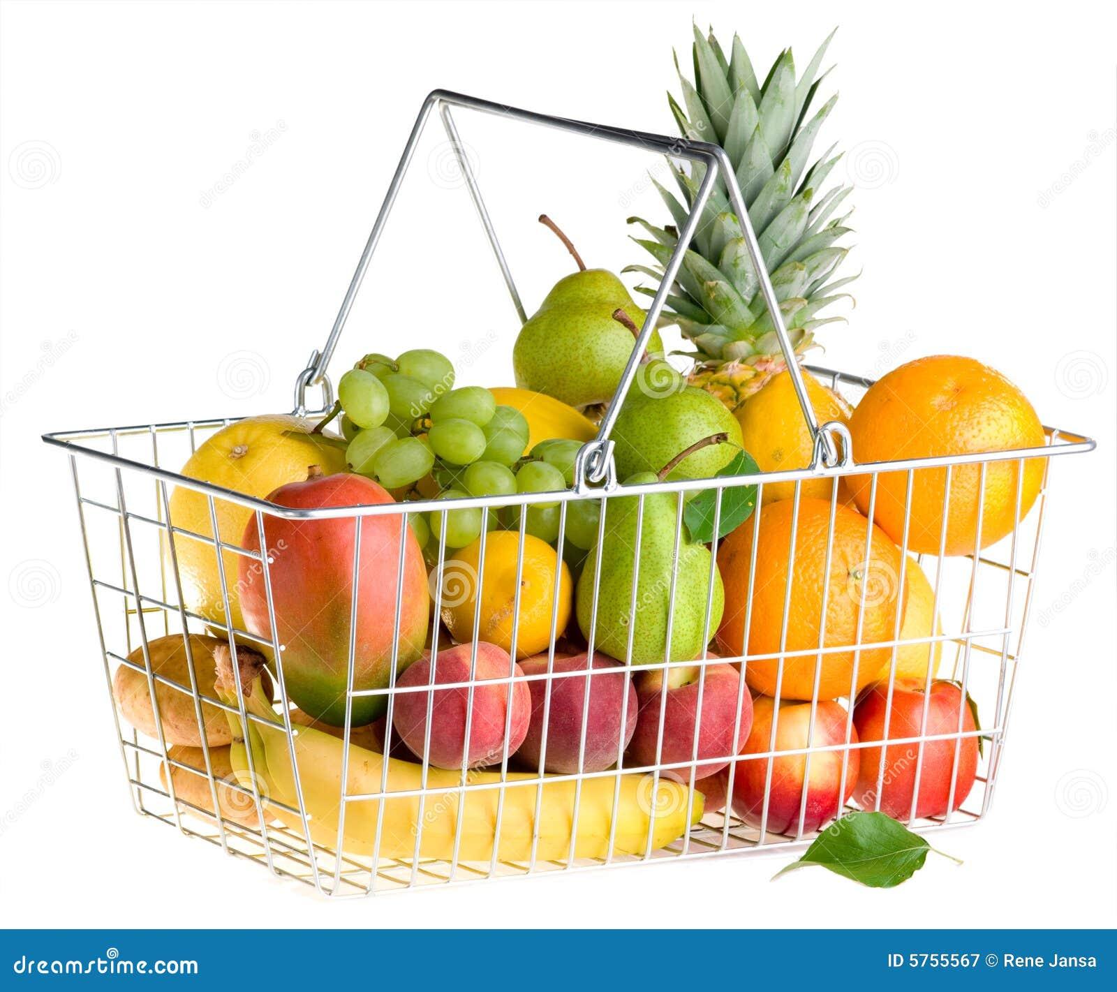 panier de fruit sur le blanc image stock image du organique isolement 5755567. Black Bedroom Furniture Sets. Home Design Ideas