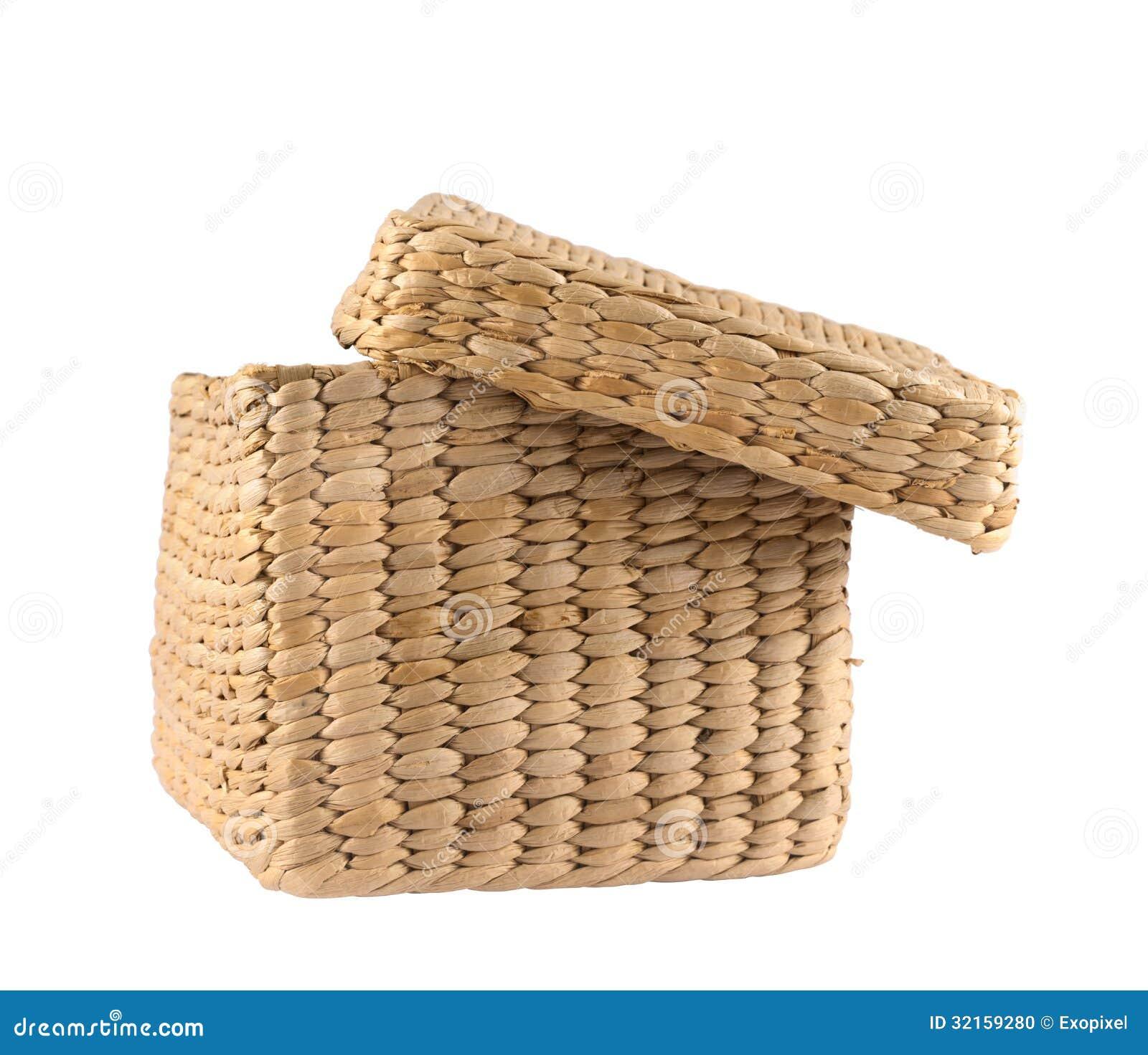 panier en osier en forme de bo te d 39 isolement photo stock image 32159280. Black Bedroom Furniture Sets. Home Design Ideas