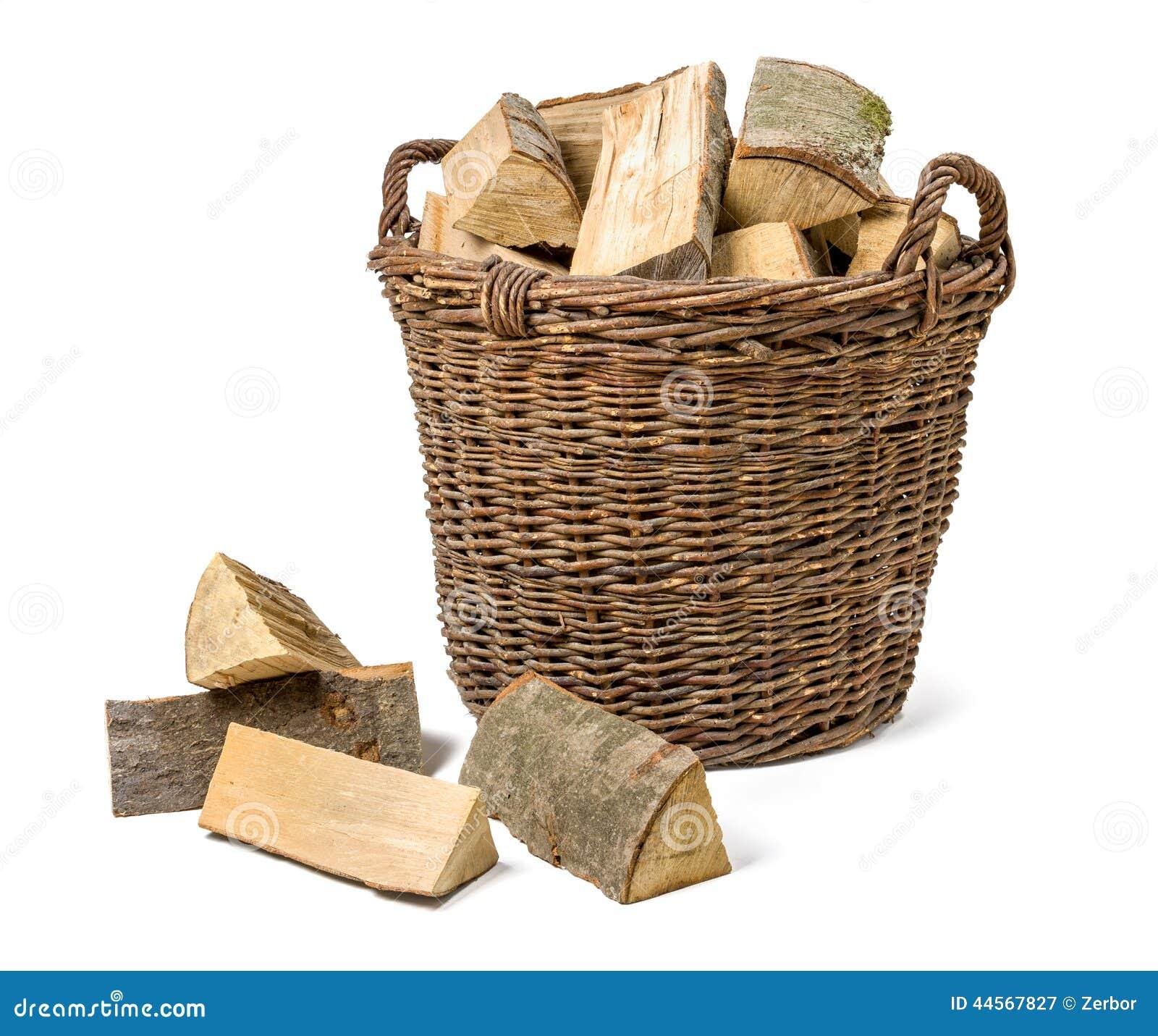 panier en osier rempli de bois de chauffage photo stock image 44567827. Black Bedroom Furniture Sets. Home Design Ideas