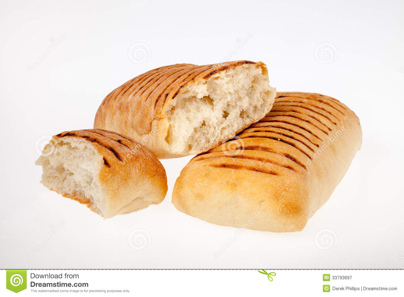 Panini bread rolls lit evenly on white background ideal for use in ...