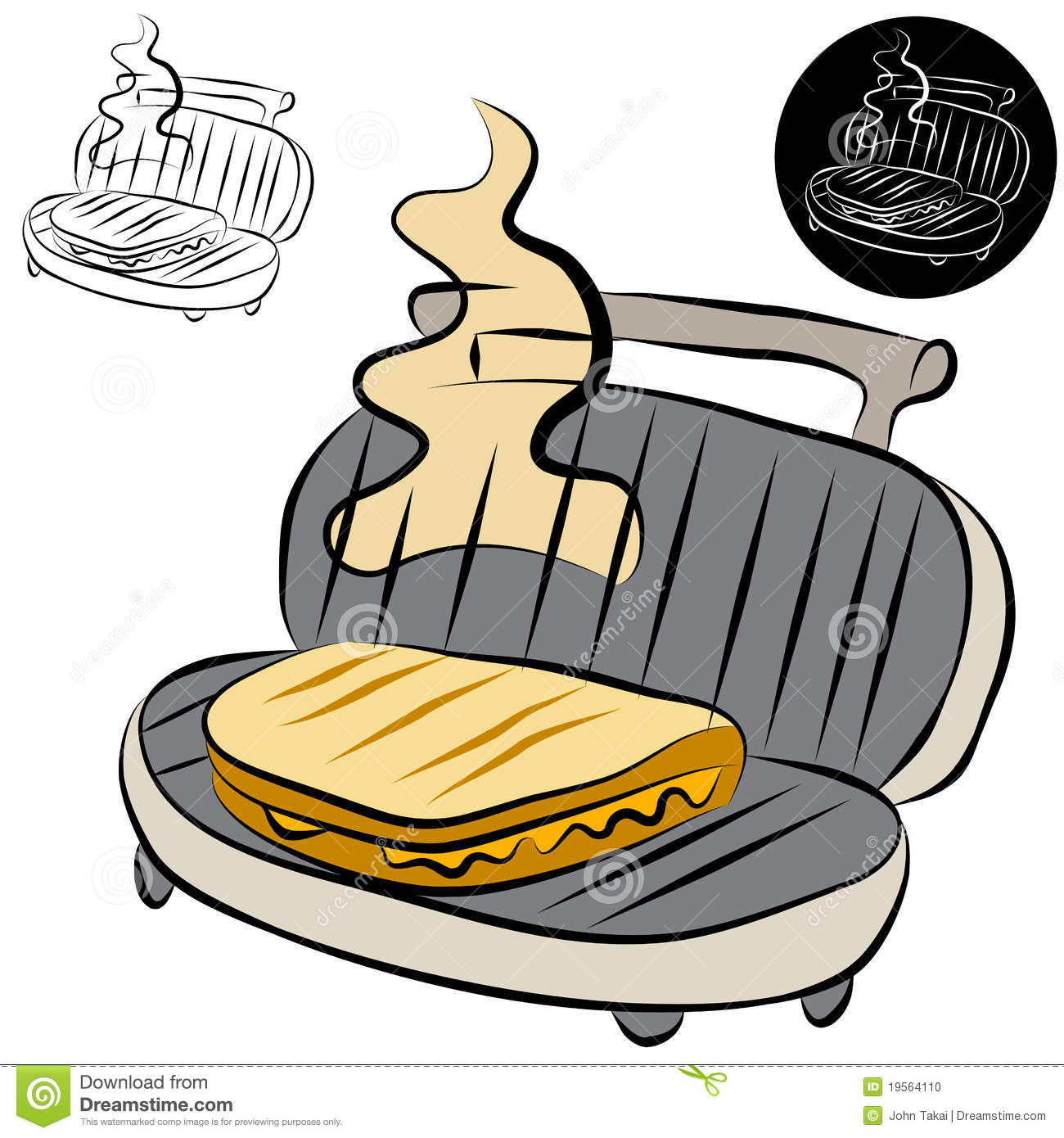 Line Drawing Maker : Panini press sandwich maker line drawing stock photo