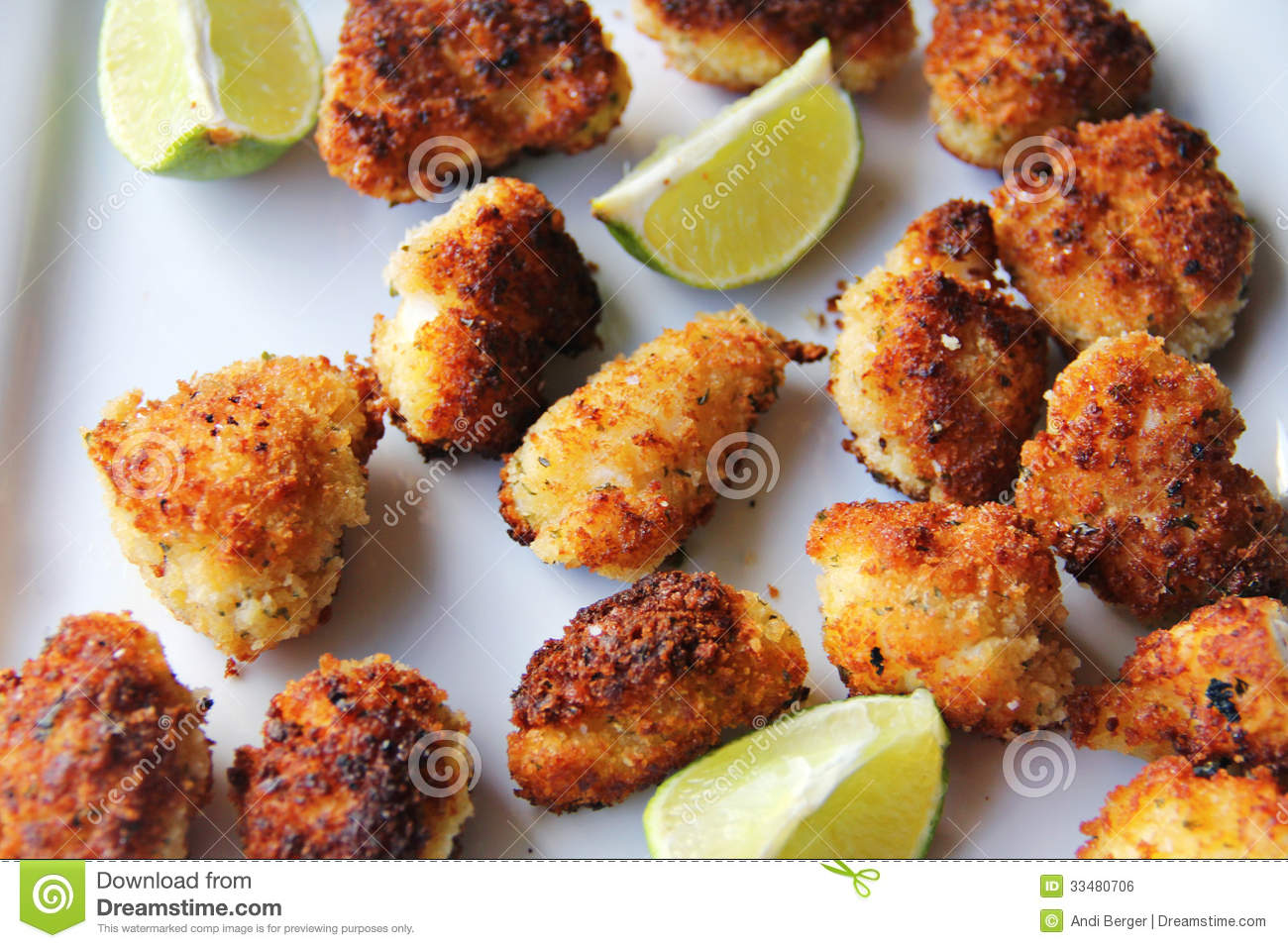 Panko Fried Lobster Tail Nuggets With Lime Upclose Royalty Free Stock ...