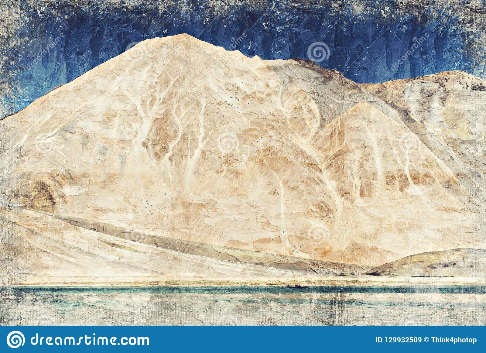 Pankongmeer Leh Ladakh India Digitaal Art Impasto Oil Painting
