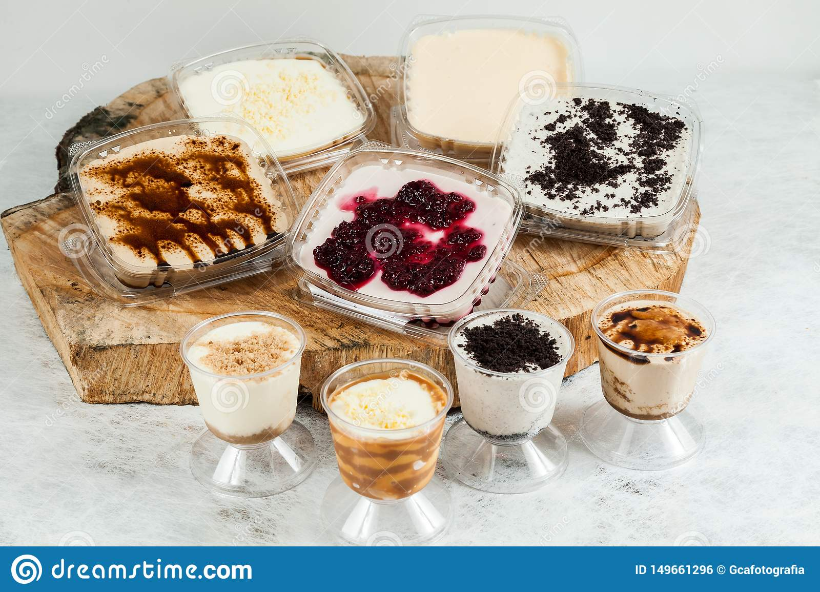 Panna cotta - desserts of different flavors and presentation