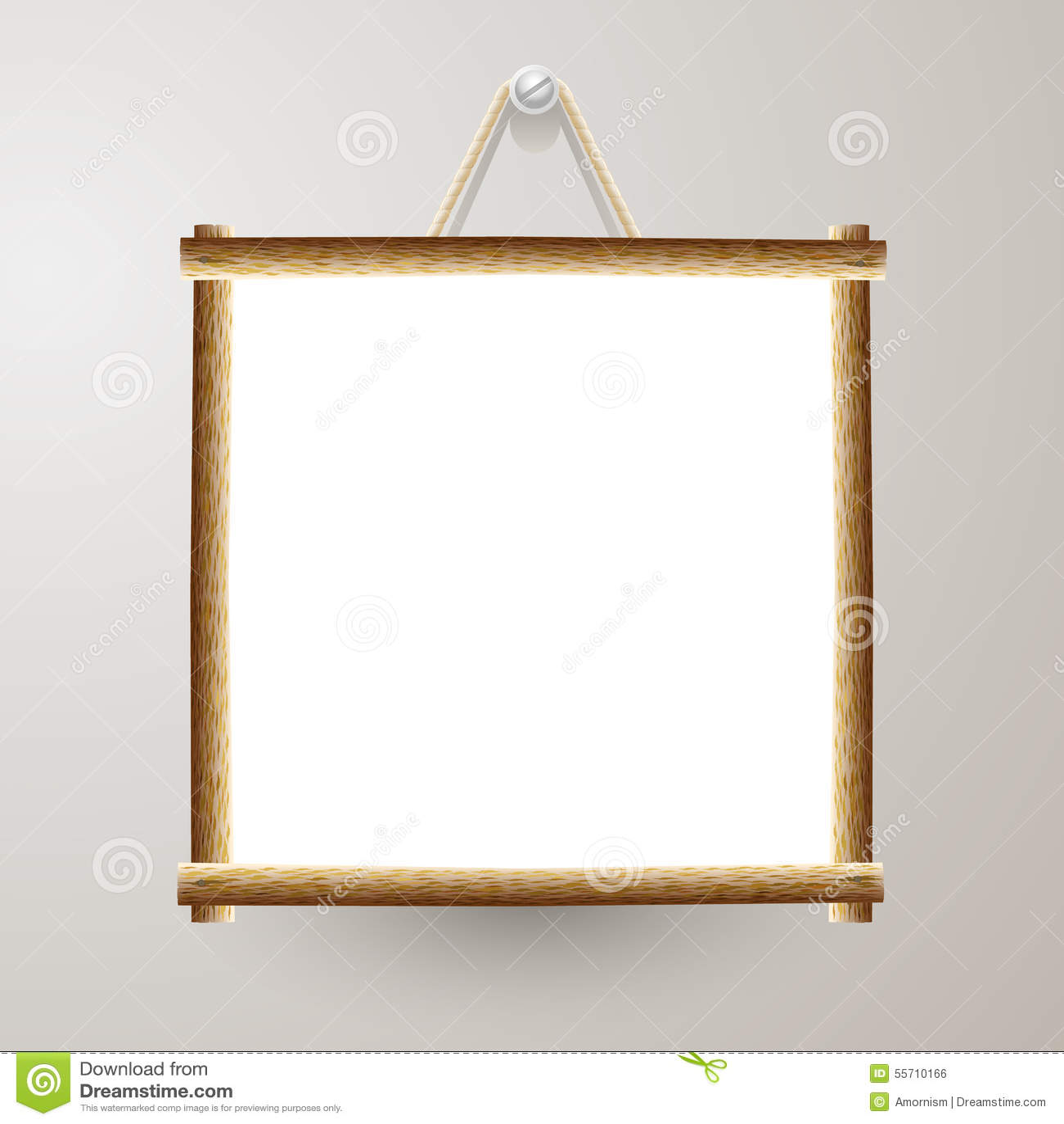 panneau blanc de cadre en bois avec la corde accrochant sur un clou illustration de vecteur. Black Bedroom Furniture Sets. Home Design Ideas