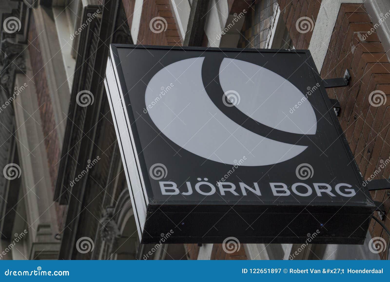 Panneau d affichage de Bjorn Borg Store At Amsterdam le 2018 néerlandais
