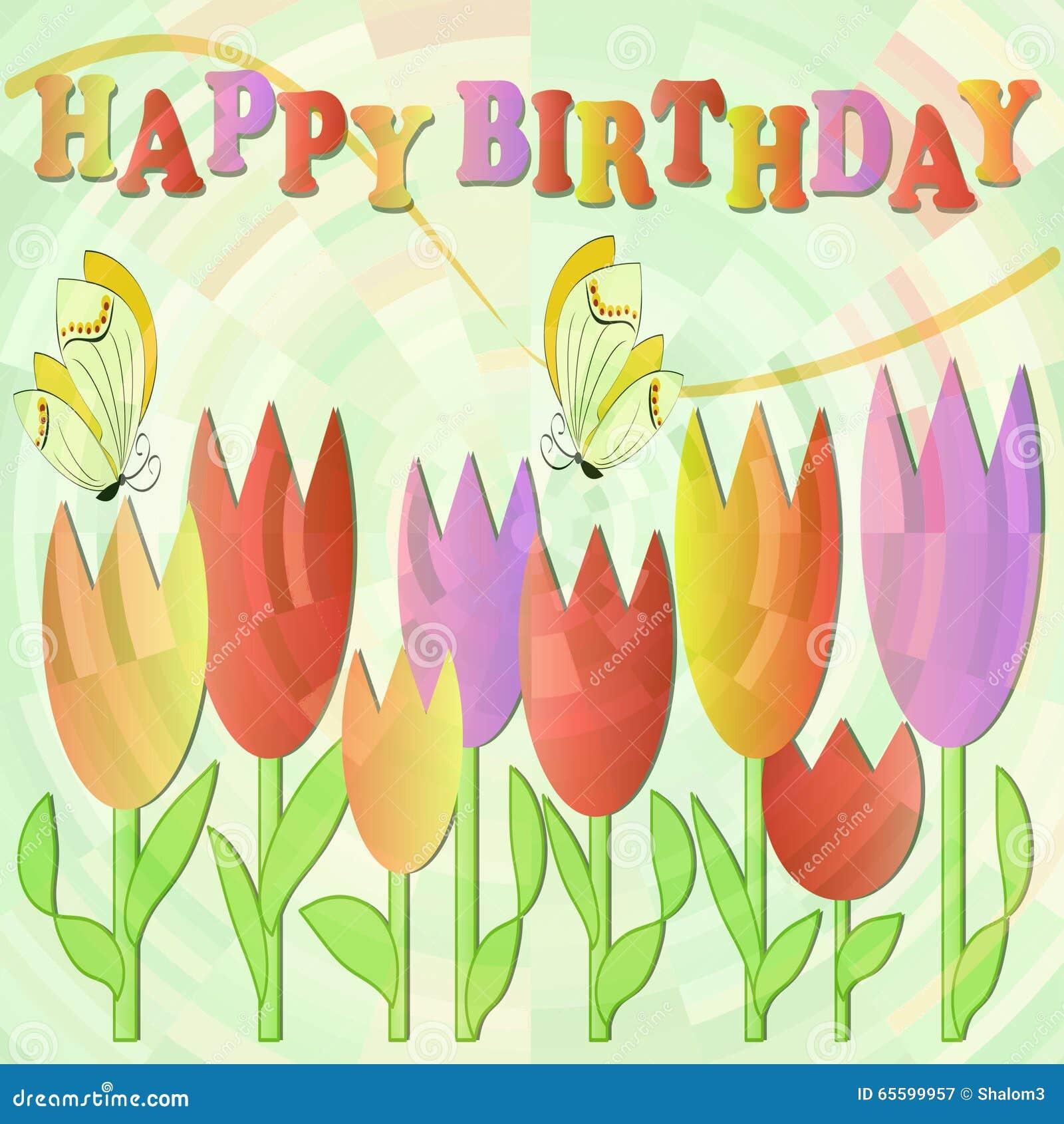 panneau d 39 affichage de joyeux anniversaire avec les tulipes et les papillons multicolores gais. Black Bedroom Furniture Sets. Home Design Ideas