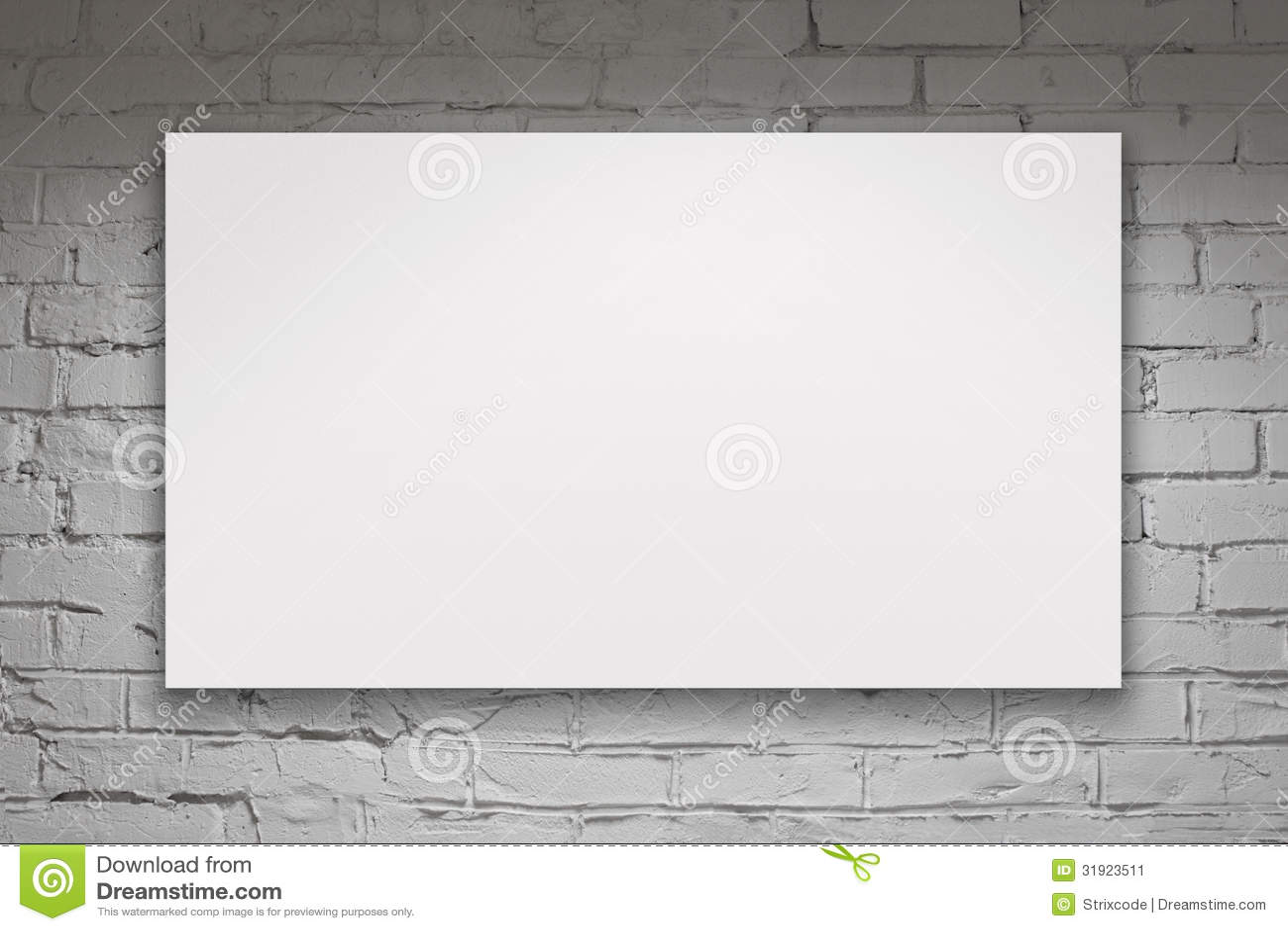 Panneau d 39 affichage vide au dessus du mur de briques blanc image stock image 31923511 - Panneau agglomere blanc ...