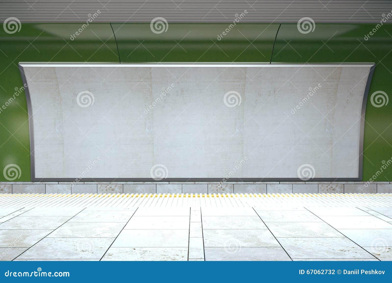 Panneau d affichage vide sur le mur vert de souterrain dans le hall vide
