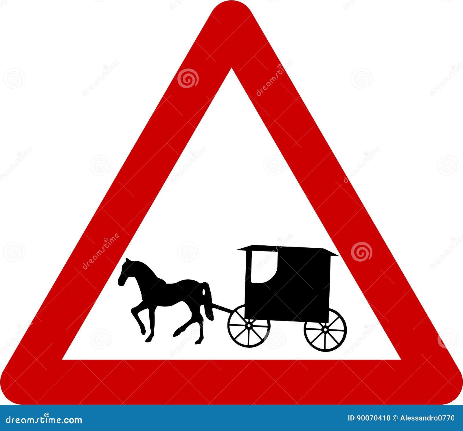 panneau d 39 avertissement avec la cal che illustration stock illustration du triangle chevaux. Black Bedroom Furniture Sets. Home Design Ideas