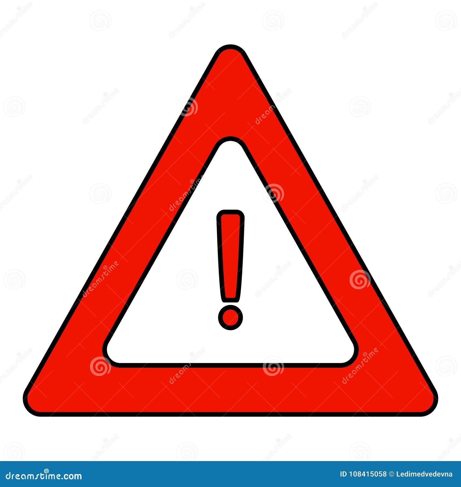 panneau d 39 avertissement triangulaire de route une ic ne de triangle avec un point d 39 exclamation. Black Bedroom Furniture Sets. Home Design Ideas