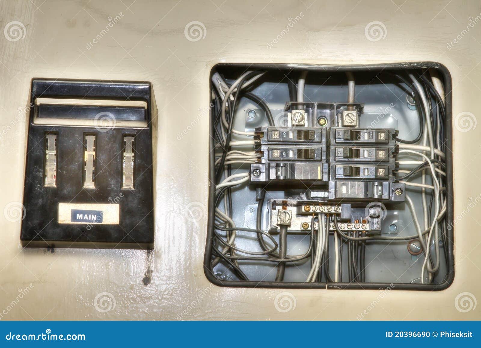 panneau de commande lectrique de vieille maison photo stock image 20396690. Black Bedroom Furniture Sets. Home Design Ideas