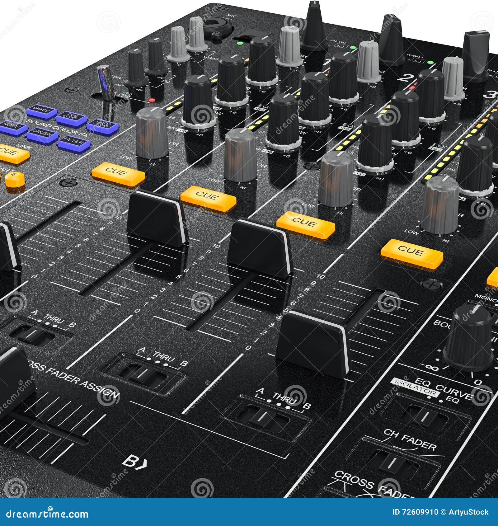 Panneau de commande de mélangeur du DJ, vue étroite