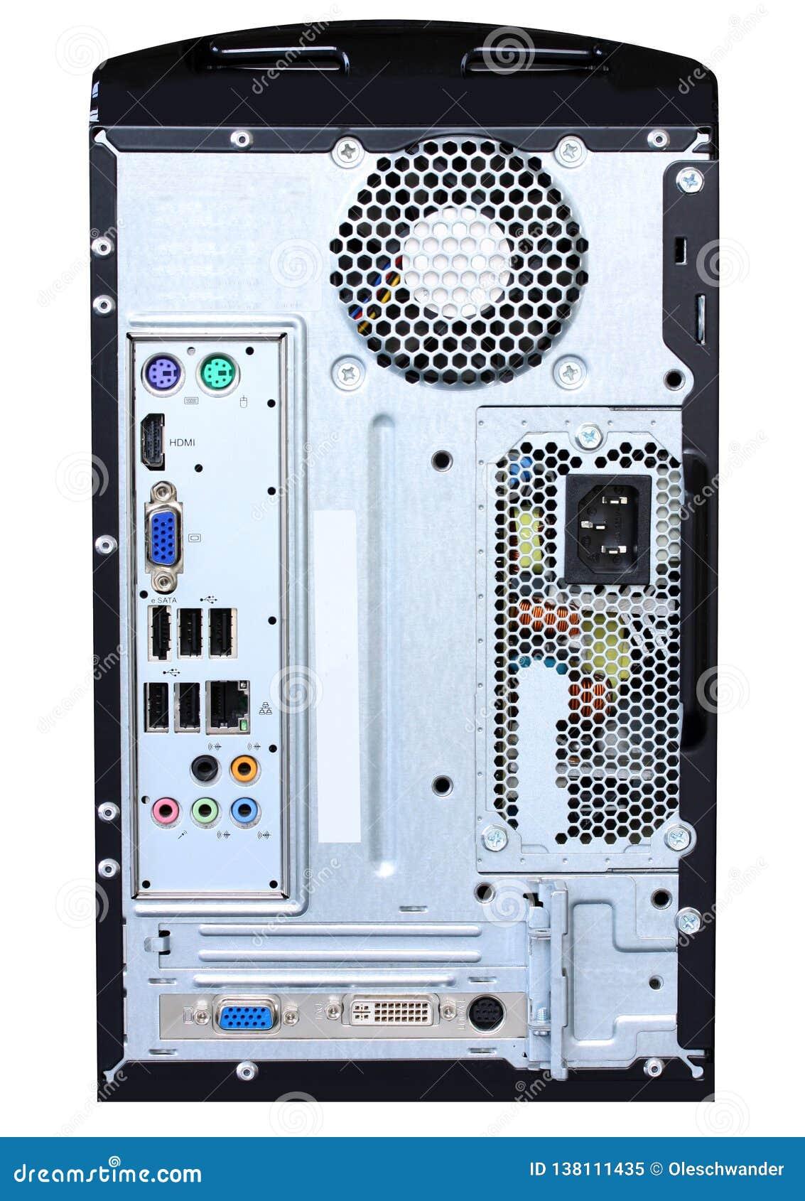 Panneau de connexion de dos d unité centrale de traitement d ordinateur montrant les ports, l alimentation d énergie et la fan D