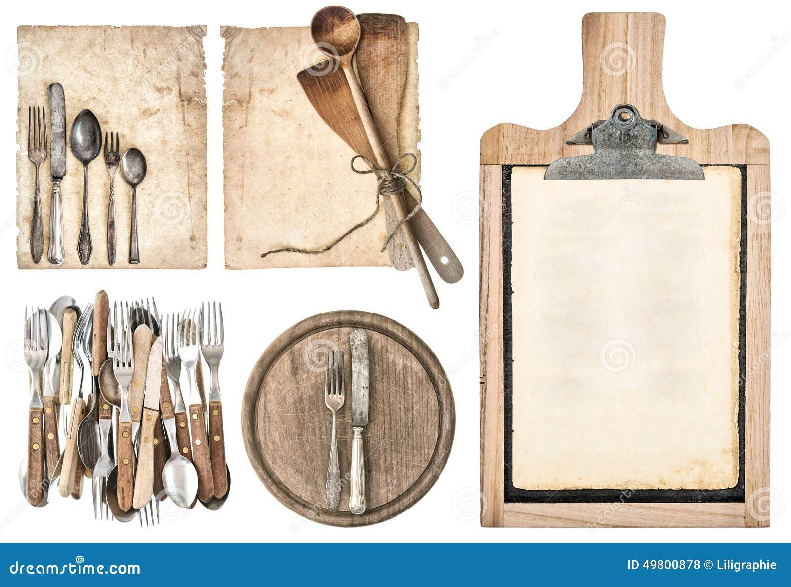 Panneau de cuisine papier g de recette et couverts de for Ensemble de cuisine antique