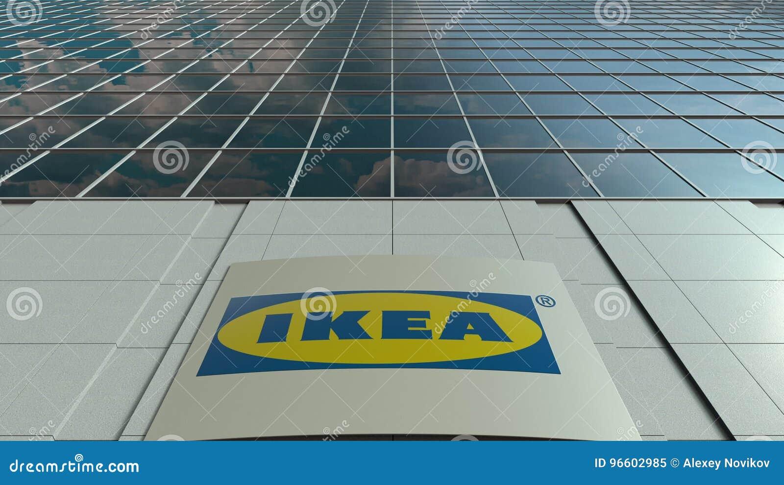 Panneau de signage avec le logo d ikea façade moderne d immeuble