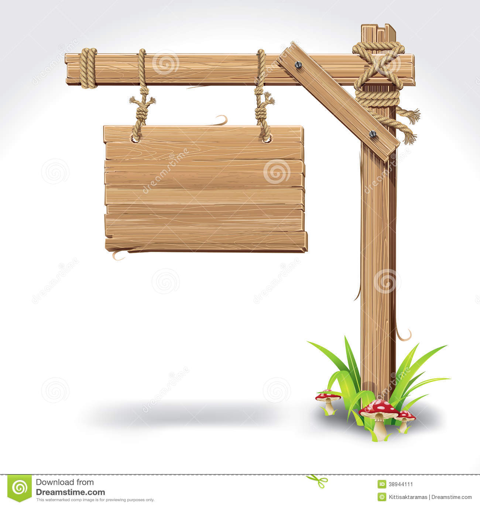 panneau en bois de signe accrochant avec la corde sur une herbe illustration de vecteur. Black Bedroom Furniture Sets. Home Design Ideas