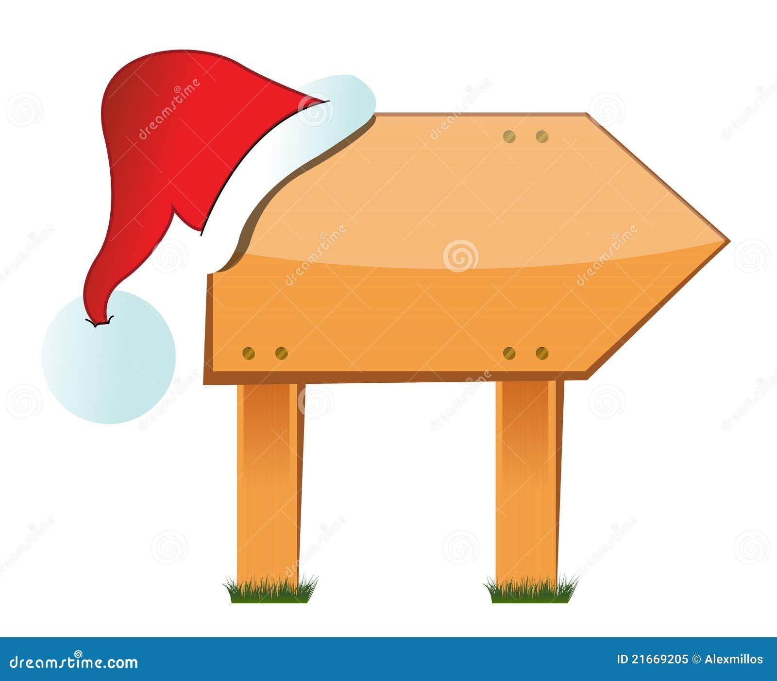 Panneau Indicateur En Bois Avec Le Chapeau De Noël Illustration De