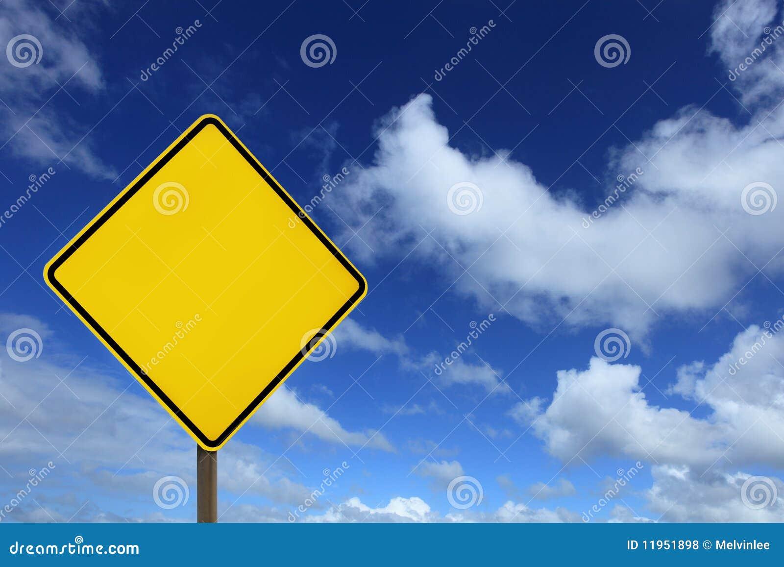 Panneau jaune blanc de signe de route