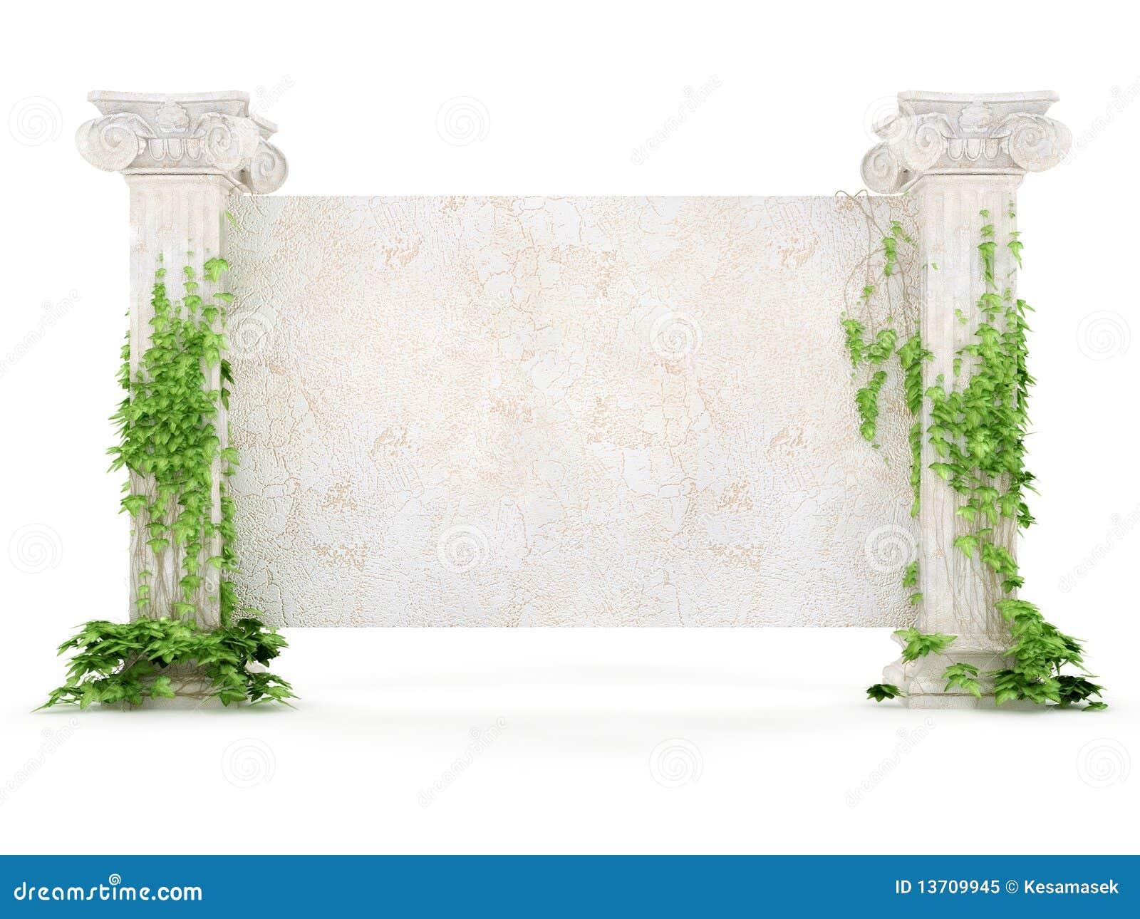 Panneau-réclame horizontal d antiquité couvert de lierre