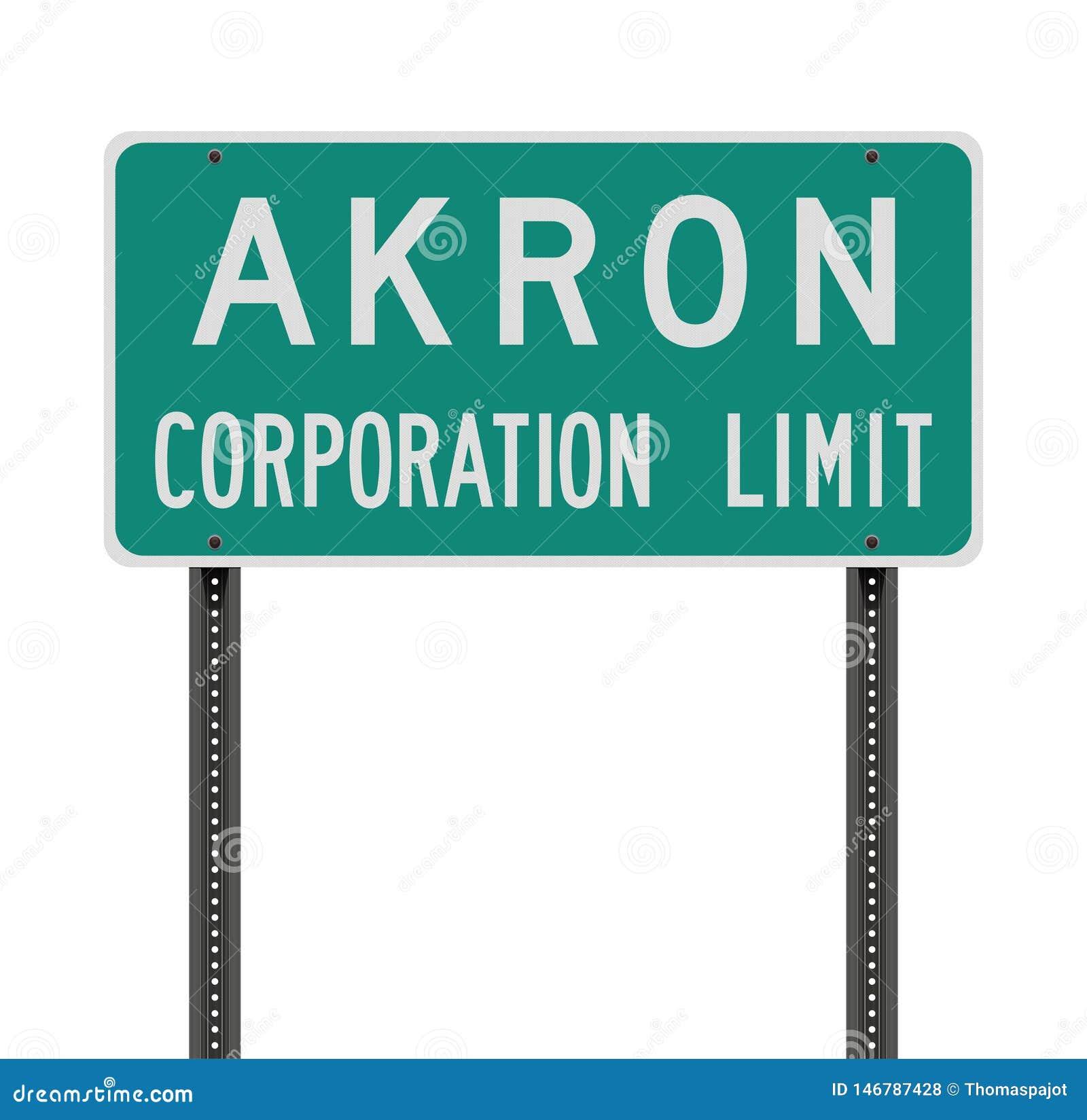 Panneau routier de limite de société d Akron