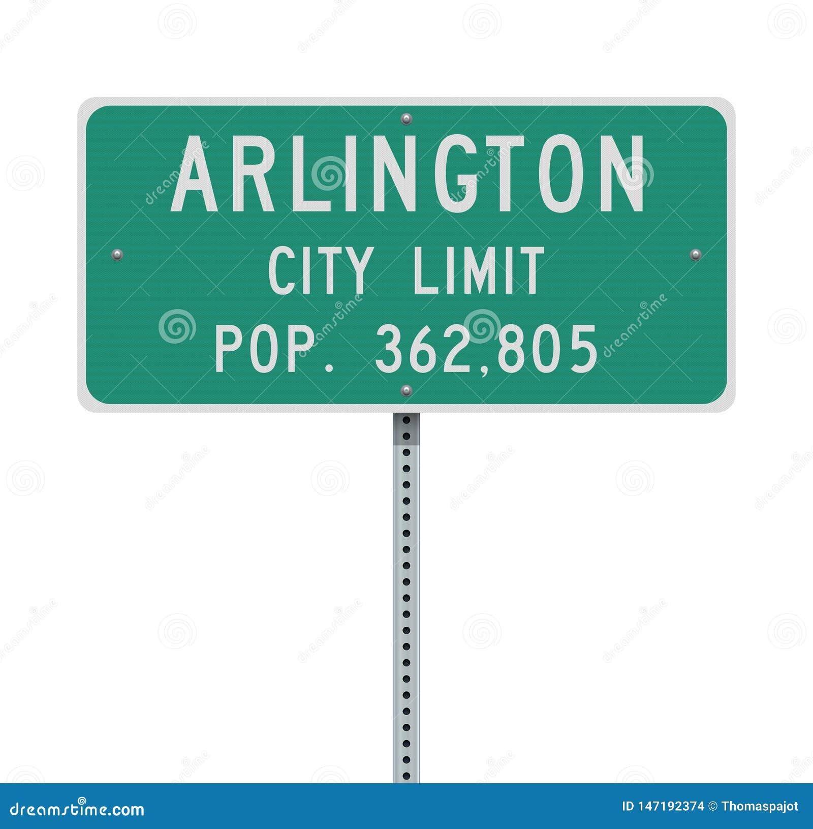 Panneau routier de limite de ville d Arlington