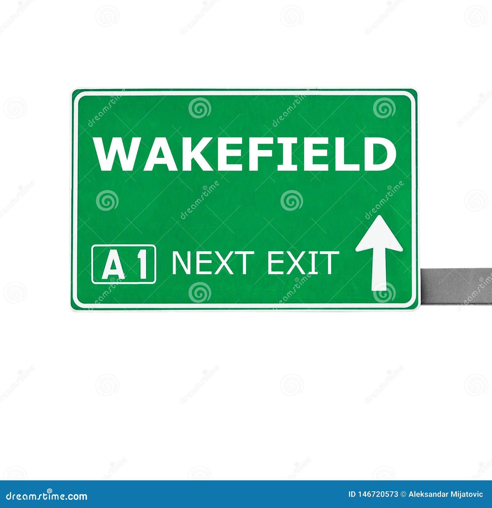 Panneau routier de WAKEFIELD d isolement sur le blanc