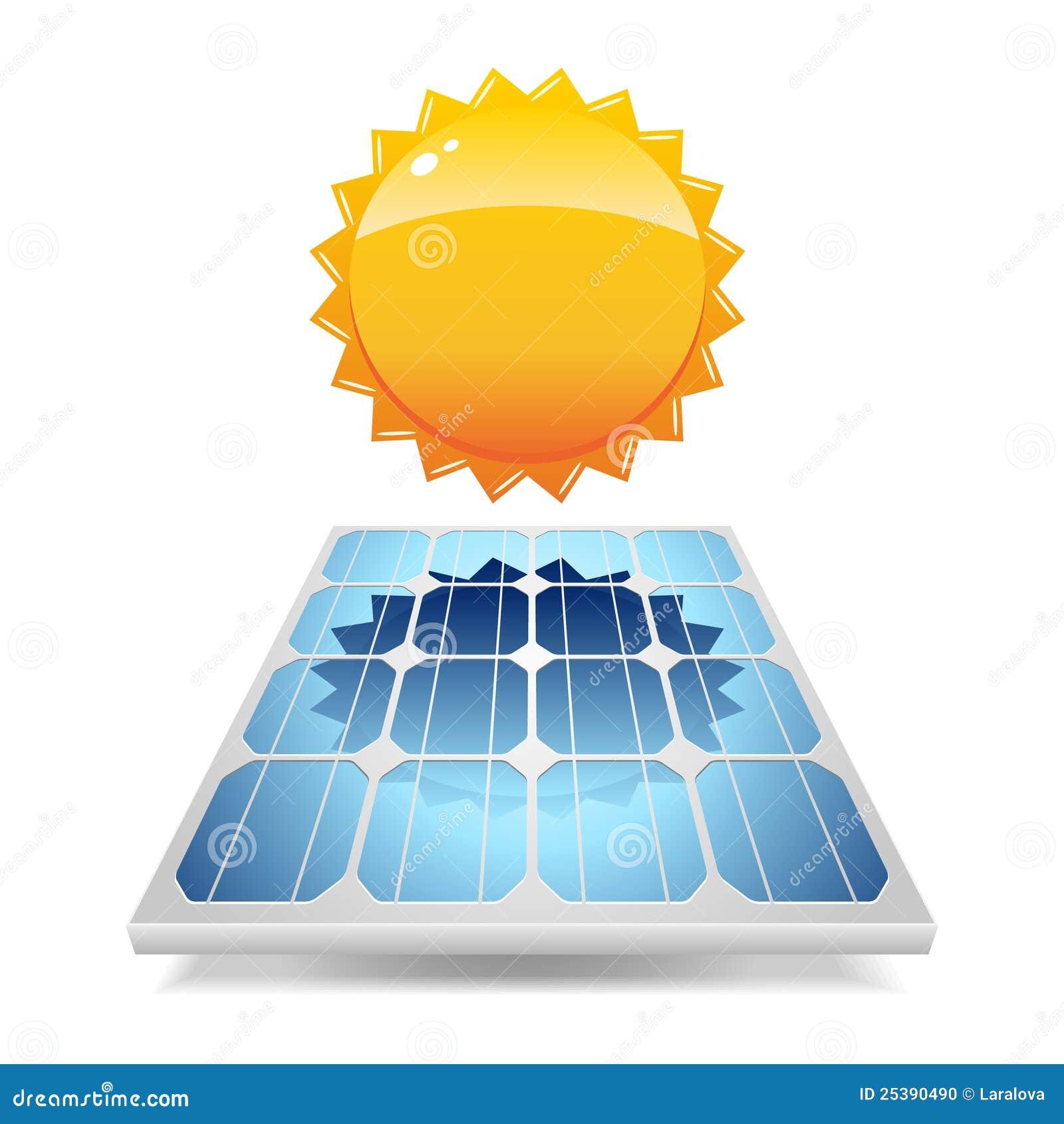 panneau solaire avec le soleil illustration de vecteur. Black Bedroom Furniture Sets. Home Design Ideas