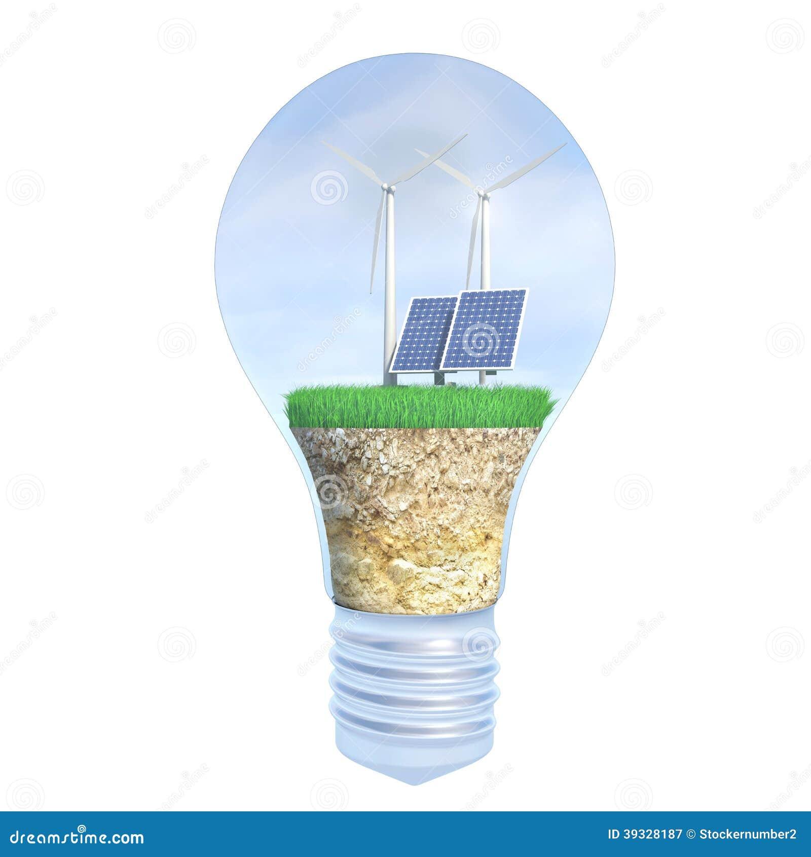 panneau solaire et nergie olienne dans l 39 ampoule illustration stock image 39328187. Black Bedroom Furniture Sets. Home Design Ideas