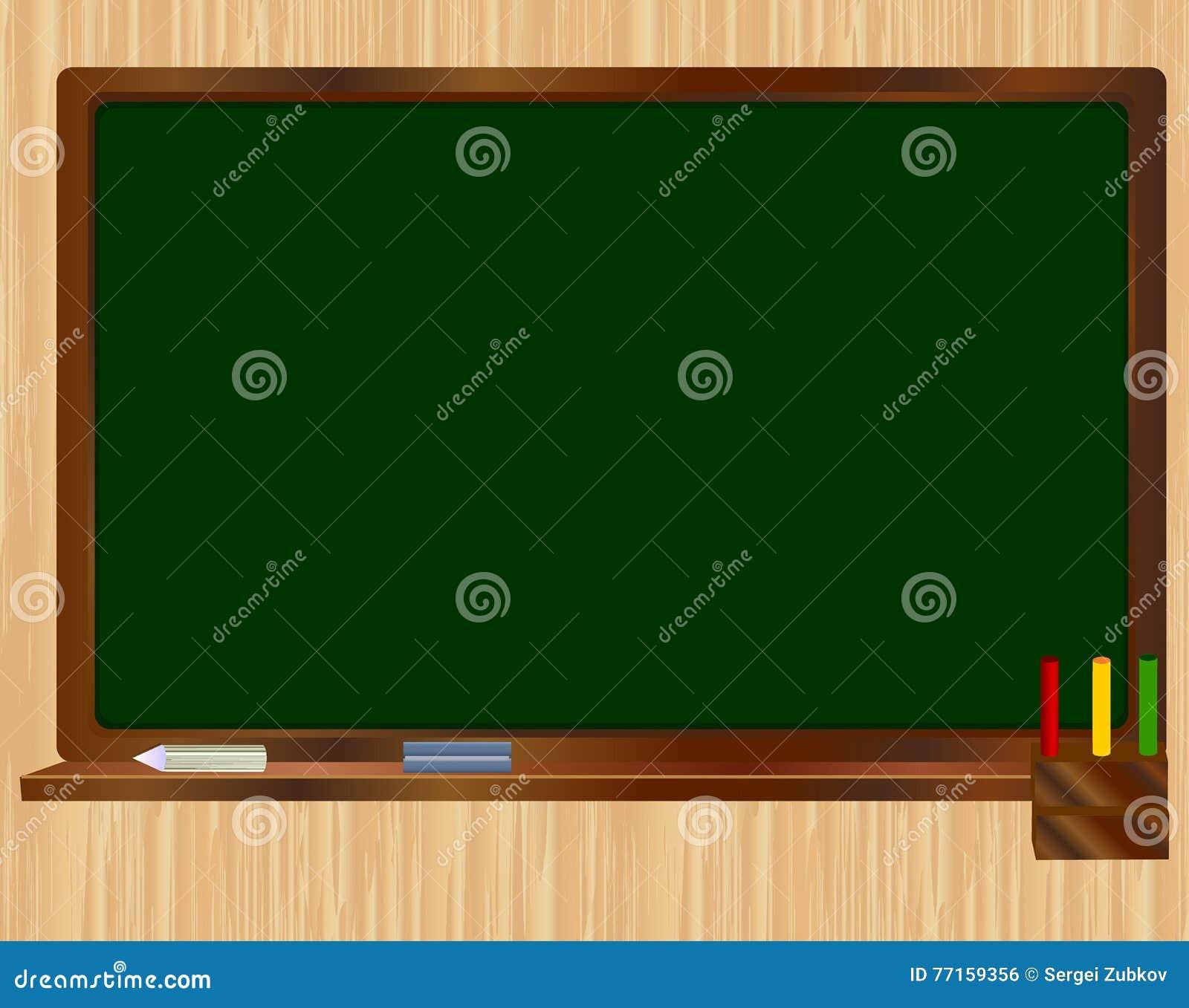 Panneau vert d école sur le fond en bois Illustration réaliste de vecteur