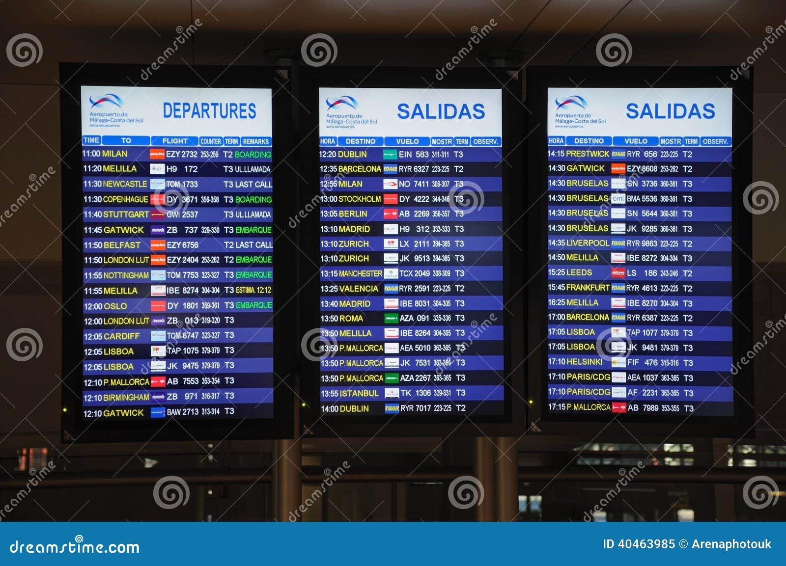 Panneaux De L Information De Vol A 233 Roport De Malaga