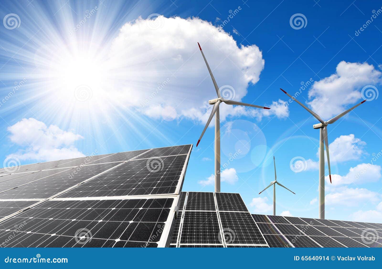 Panneaux et turbines de vent à énergie solaire