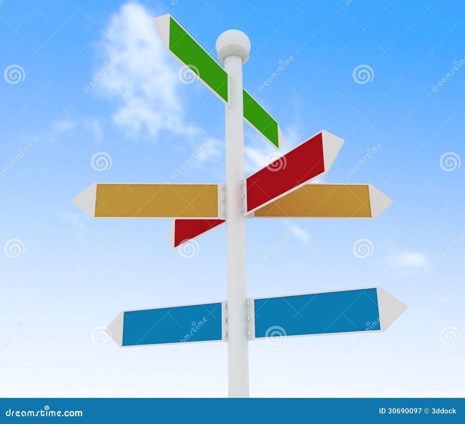 panneaux routiers de direction sur le fond de ciel bleu illustration stock illustration du. Black Bedroom Furniture Sets. Home Design Ideas